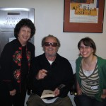 Jack Nicholson (with my daughter and me) autographing a copy of the Hemingway story he performed in Symphony benefit for Paul Newman's summer camps.